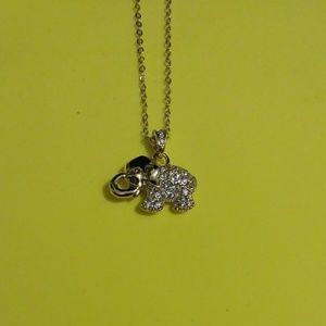 NIB Rhinestone Elephant Pendant Necklace